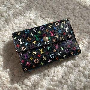 LV Black Monogram Multicolor Trifold Pocket Wallet